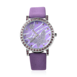 STRADA Japanese Movement Simulated Rubellite Studded Butterfly Motif Dial Water Resistant Watch in S