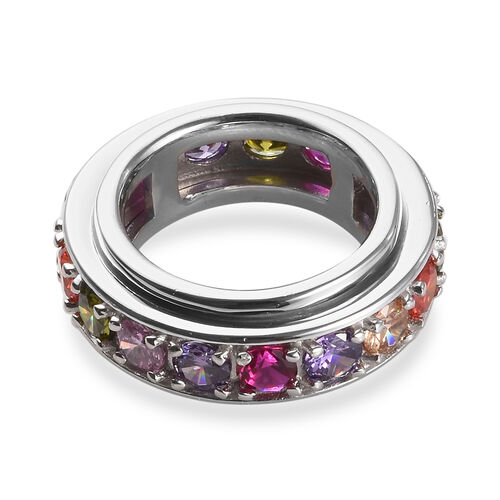 Spinner Ring- Simulated Rainbow Sapphire and Simulated Multi Gemstone Eternity Band Ring in Platinum Plated