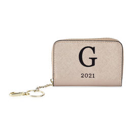 Genuine Leather Alphabet G Wallet with Engraved Message on Back Side (Size 11X7.5X2.5 Cm) - Gold