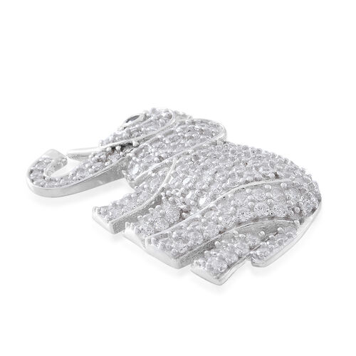 ELANZA AAA Simulated White Diamond (Rnd) Elephant Pendant in Rhodium Plated Sterling Silver, Silver wt 3.61 Gms. Number of Simulated Diamond 136