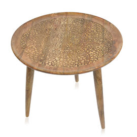 NAKKASHI - Mango Tree Wood Mehrab Hand Carved Round Table (Size 60x51 Cm)