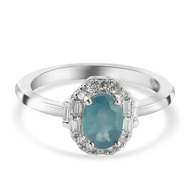 Grandidierite and Natural Cambodian Zircon Ring in Platinum Overlay Sterling Silver 1.020 Ct.