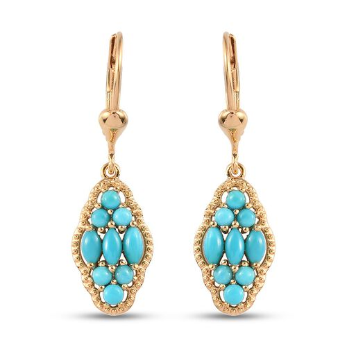 Arizona Sleeping Beauty Turquoise Dangling Lever Back Earrings in 14K Gold Overlay Sterling Silver 1