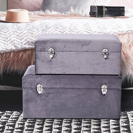 Super Find- Set of 2 Grey Velvet Fabric Covered Wooden Trunks