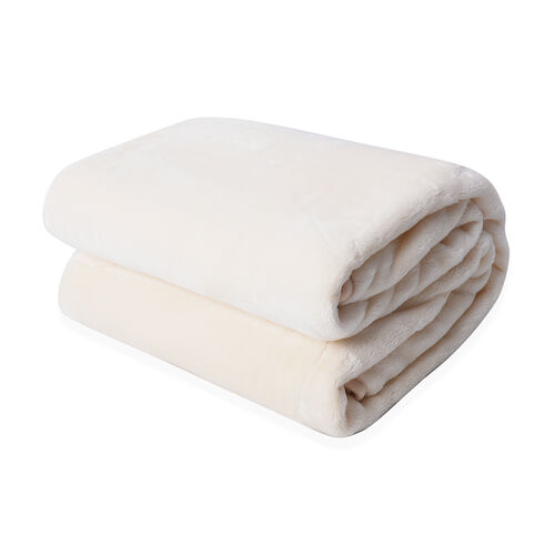 Serenity Night - Solid Ivory Colour Supersoft Milky Blanket (Size 150x200cm)