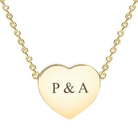9CT yellow gold heart disc necklace