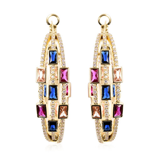Simulated Multi Colour Gemstone Earrings with Clasp in Gold Tone