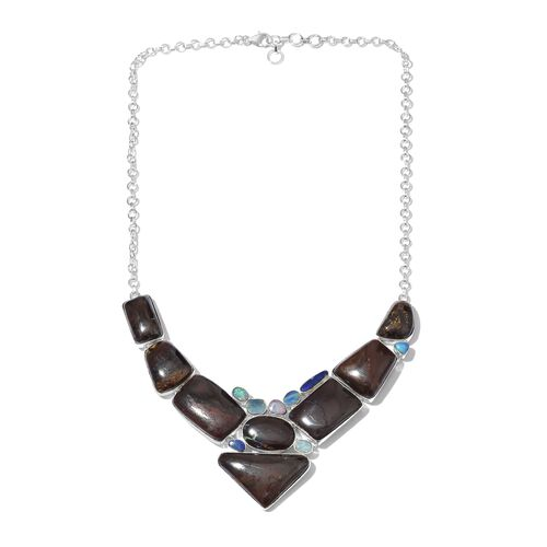 One Off A Kind- Boulder Opal Rock and Opal Double Necklace (Size 18 with 1 inch Extender) in Sterling Silver 196.951 Ct. Silver wt 29.91 Gms.