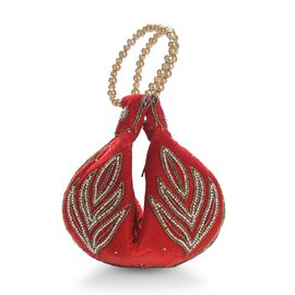 Weaved Embellishment Velvet Fortune Cookie bag (Size 16.51x24.13 Cm) - Red