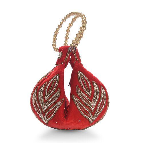 Weaved Embellishment Velvet Fortune Cookie bag (Size 16.51x24.13 Cm) - Red