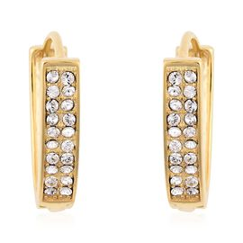 J Francis - Crystal from Swarovski White Crystal (Rnd) V Shape Hoop Earrings in Yellow Gold Overlay