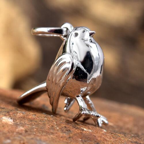 Platinum Overlay Sterling Silver Robin Bird Charm Pendant, Silver wt 4.17 Gms.