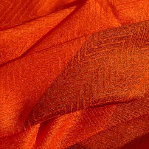 100% Cashmere Wool Orange Colour Shawl with Fringes (Size 200X65 Cm)