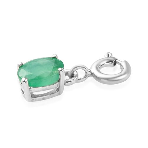 Emerald Sagota (Ovl 7x5) Charm in Platinum Overlay Sterling Silver 0.750 Ct.