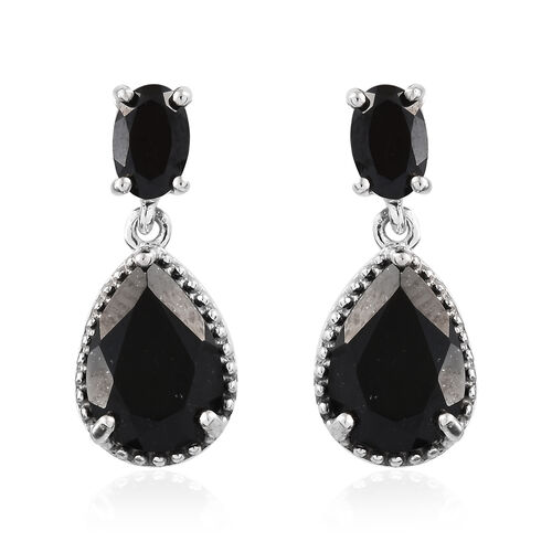 Black Tourmaline (Pear), Boi Ploi Black Spinel Drop Dangle Earrings in Platinum Overlay Sterling Silver 4.500 Ct.