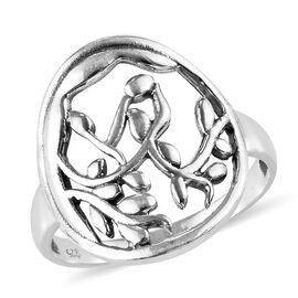 Artisan Crafted - Sterling Silver Open Vine Design Ring (Size R), Silver wt 3.60 Gms