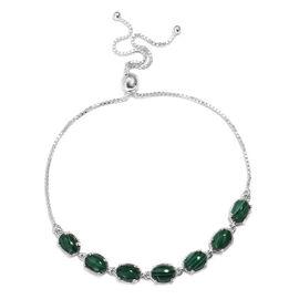 4.75 Ct Malachite Bolo Adjustable Bracelet in Sterling Silver 7.5 Inch