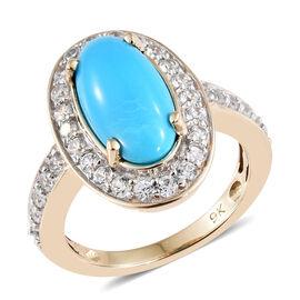 9K Yellow Gold AAA  Arizona Sleeping Beauty Turquoise (Ovl), Natural White Cambodian Zircon Ring  3.500 Ct