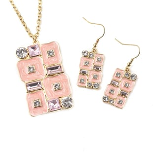 2 Piece Set -  White Austrian Crystal and Simulated Pink Sapphire Necklace (Size 24 with 2 inch Exte