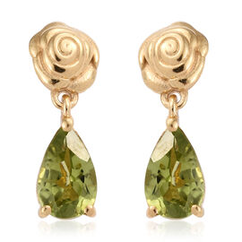 Hebei Peridot (Pear) Teardrop Earrings (with Push Back) in 14K Gold Overlay Sterling Silver 1.750 Ct