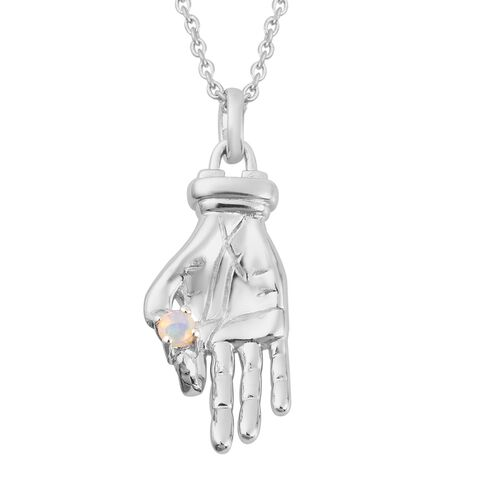 Sundays Child - Ethopian Welo Opal Hand Pendant with Chain (Size 20) in Platinum Overlay Sterling Si