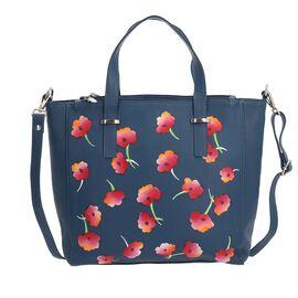 SUKRITI 100% Genuine Leather Poppy Tote Bag with Adjustable Shoulder Strap (Size 28x8x28cm) - Blue