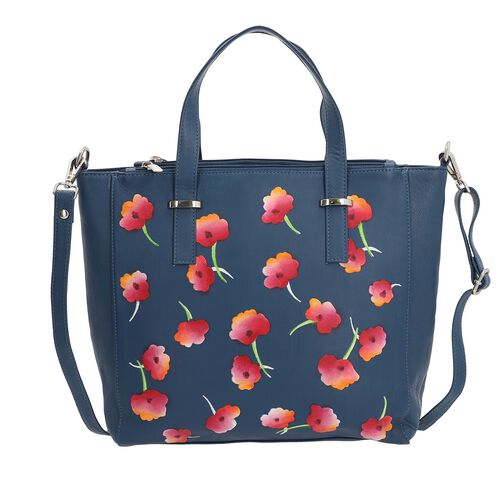 SUKRITI 100% Genuine Leather Poppy Tote Bag with Adjustable Shoulder Strap (Size 28x8x28cm) - Blue