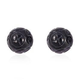 41 Ct Black Jade Ball Stud Earrings in Rhodium Plated Sterling Silver
