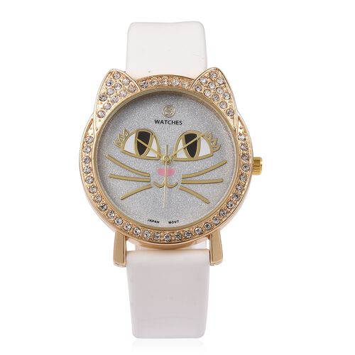 STRADA Japanese Movement White Austrian Crystal Studded Water Resistant Kitty Face Silver Stardust Dial Watch with White Strap