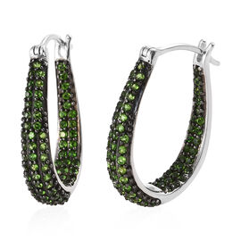 Preview Auction-Russian Diopside (Rnd) Earrings (with Clasp Lock) in Platinum Overlay and Black Plating Sterling Silver  2.250  Ct, Silver wt 9.72 Gms.