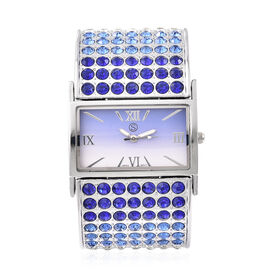 STRADA Japanese Movement Blue and White Crystal Bangle Watch (Size 6.5-7) in Silver Tone with Blue G