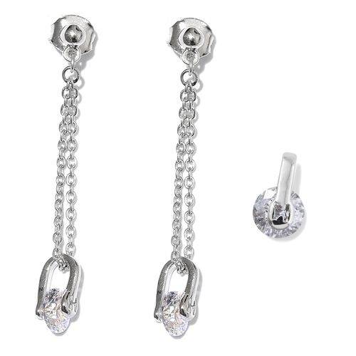 J Francis - Platinum Overlay Sterling Silver (Rnd) Solitaire Pendant and Dangle Earrings (with Push Back) Made with SWAROVSKI ZIRCONIA