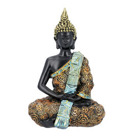 Meditating Buddha Statue (Size 14x8x20 Cm) - Gold and Turquoise