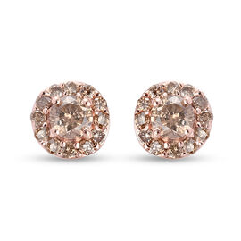 9K Rose Gold SGL Certified Champagne Diamond (I3) Stud Earrings (with Push Back) 0.50 Ct.