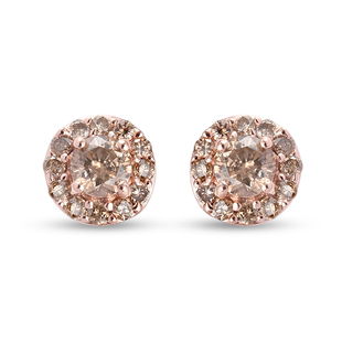 9K Rose Gold SGL Certified Champagne Diamond (I3) Stud Earrings (with Push Back) 0.51 Ct.