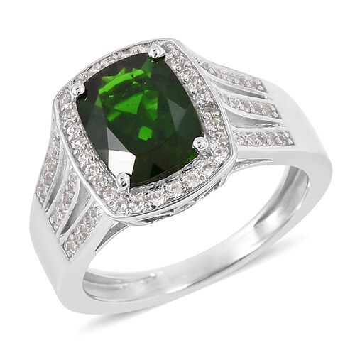 Russian Diopside and Natural White Cambodian Zircon Ring in Rhodium Plated Sterling Silver 2.675 Ct