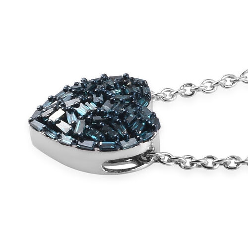 GP - Blue Diamond and Blue Sapphire Heart Pendant with Chain (Size 18) in Platinum Overlay Sterling Silver 0.36 Ct.