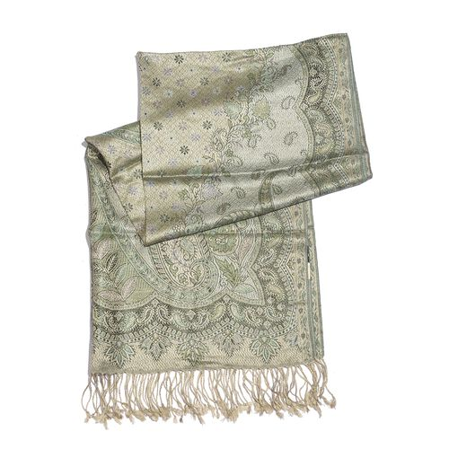 SILK MARK - 100% Superfine Silk Green and Multi Colour Paisley and Floral Pattern Jacquard Jamawar Scarf with Tassels (Size 180X70 Cm) (Weight 125 - 140 Gms)