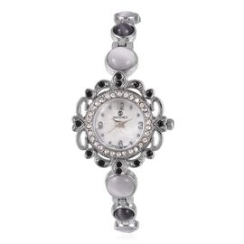 STRADA Japanese Movement Water Resistant Bracelet Watch Studded with Simulated White and Black Cats Eye and Austrian Crystal in Stainless Steel