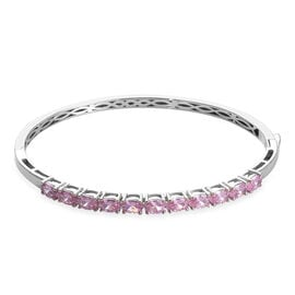 Simulated Pink Sapphire Stacker Bangle in Platinum Plated 7.5 Inch