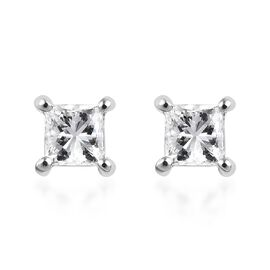 RHAPSODY 950 Platinum IGI Certified Diamond (Sqr) (VS/E-F) Stud Earrings (with Screw Back) 0.500  Ct