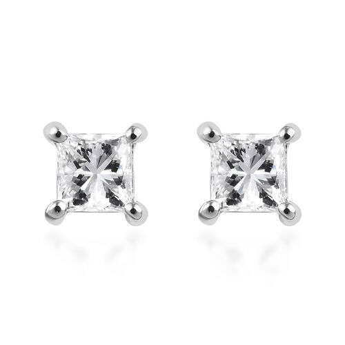 RHAPSODY 950 Platinum IGI Certified Diamond (Sqr) (VS/E-F) Stud Earrings (with Screw Back) 0.500  Ct