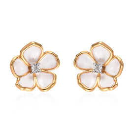 Diamond (Rnd) Enamelled Jasmine Flower Stud Earrings (with Push Back) in 14K Gold Overlay Sterling S