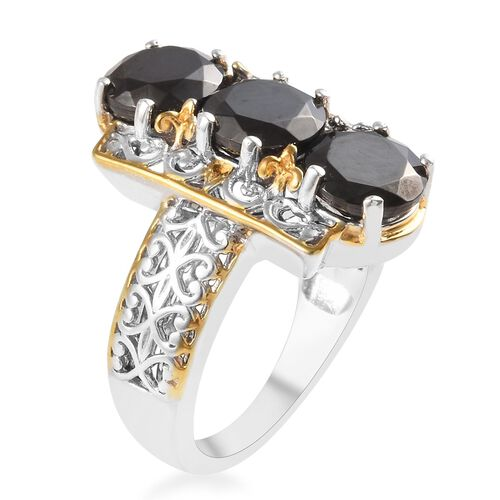 Elite Shungite (Rnd) Ring in Platinum and Yellow Gold Overlay Sterling Silver 2.00 Ct.