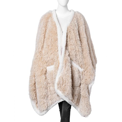 Designer Inspired-Super Soft Cream Colour Long Pile Wrap with Sherpa Border and Pockets (Free Size)