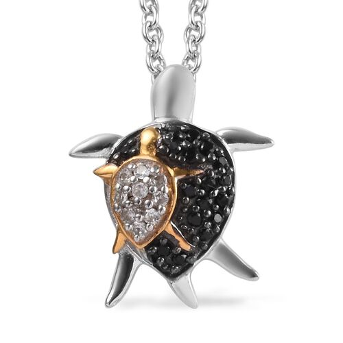 Boi Ploi Black Spinel (Rnd), Natural Cambodian Zircon Mother and Baby Turtle Pendant with Chain in P