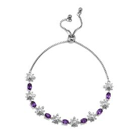 Zambian Amethyst (Ovl) Turtle Bolo Bracelet (Size 6.5 to 9.5) in Platinum Plated 3.00 Ct.