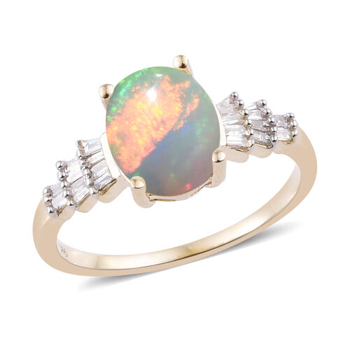 1.13 Ct Ethiopian Opal and Diamond Ballerina Ring in 9K Gold 1.7 Grams
