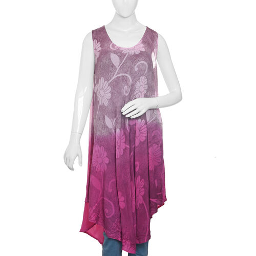 New For Season - Pink and Purple Colour Flower and Leaves Pattern Apparel (Free Size)