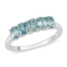 1 Carat Paraibe Apatite 5 Stone Ring in Sterling Silver